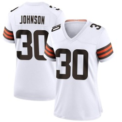 D'Ernest Johnson Cleveland Browns Women's Game Nike Jersey - White