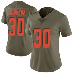 D'Ernest Johnson Cleveland Browns Women's Limited Salute to Service Nike Jersey - Green