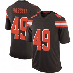 J.T. Hassell Cleveland Browns Men's Limited 100th Vapor Nike Jersey - Brown