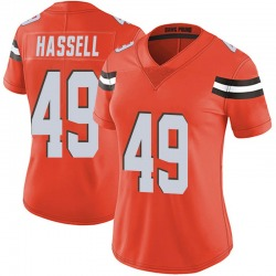 J.T. Hassell Cleveland Browns Women's Limited Alternate Vapor Untouchable Nike Jersey - Orange