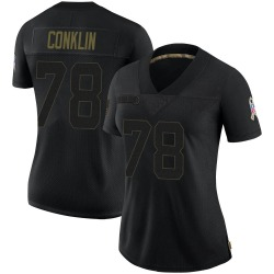 Jack Conklin Cleveland Browns Women's Limited 2020 Salute To Service Nike Jersey - Black