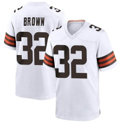 Jim Brown Cleveland Browns Men's Game Nike Jersey - White