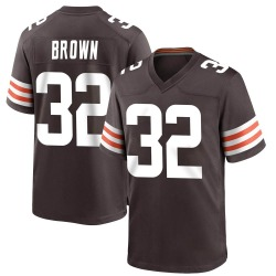 Jim Brown Cleveland Browns Men's Game Team Color Nike Jersey - Brown