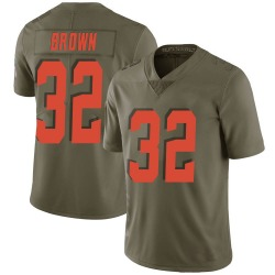 Jim Brown Cleveland Browns Men's Limited Salute to Service Nike Jersey - Green