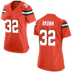 Jim Brown Cleveland Browns Women's Game Alternate Nike Jersey - Orange