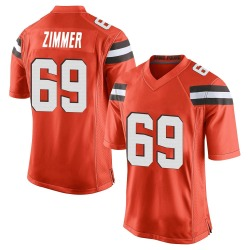 Justin Zimmer Cleveland Browns Men's Game Alternate Nike Jersey - Orange