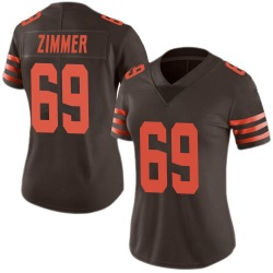 Justin Zimmer Cleveland Browns Women's Limited Color Rush Nike Jersey - Brown