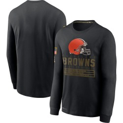 Men's Cleveland Browns Black 2020 Salute to Service Sideline Performance Long Sleeve T-Shirt