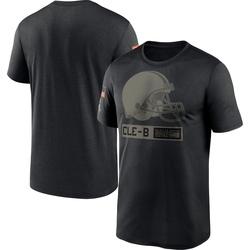 Men's Cleveland Browns Black 2020 Salute to Service Team Logo Performance T-Shirt