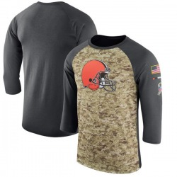 Men's Cleveland Browns Camo/Anthracite Salute to Service Sideline Legend Performance Three-Quarter Sleeve T-Shirt