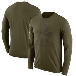 Men's Cleveland Browns Olive 2018 Salute to Service Sideline Legend Performance Long Sleeve T-Shirt