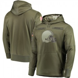 Men's Cleveland Browns Olive 2018 Salute to Service Sideline Therma Performance Pullover Hoodie