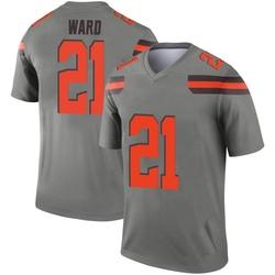 Men's Denzel Ward Cleveland Browns Men's Legend Inverted Silver Nike Jersey
