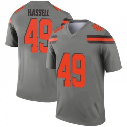 Men's J.T. Hassell Cleveland Browns Men's Legend Inverted Silver Nike Jersey