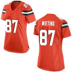 Nate Wieting Cleveland Browns Women's Game Alternate Nike Jersey - Orange