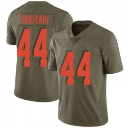 Sione Takitaki Cleveland Browns Men's Limited Salute to Service Nike Jersey - Green