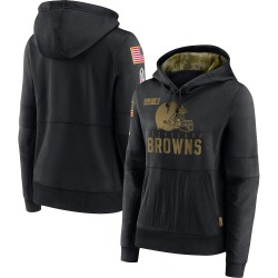 Women's Cleveland Browns Black 2020 Salute to Service Performance Pullover Hoodie