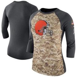 Women's Cleveland Browns Camo/Charcoal Salute to Service Legend Three-Quarter Raglan Sleeve T-Shirt