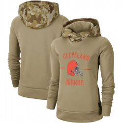 Women's Cleveland Browns Khaki 2019 Salute to Service Therma Pullover Hoodie