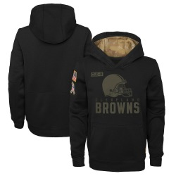 Youth Cleveland Browns Black 2020 Salute to Service Pullover Performance Hoodie