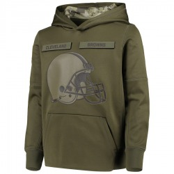 Youth Cleveland Browns Green 2018 Salute to Service Pullover Performance Hoodie