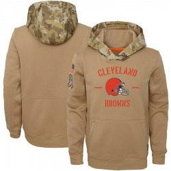 Youth Cleveland Browns Khaki 2019 Salute to Service Therma Pullover Hoodie