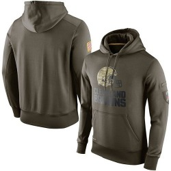 Men's Cleveland Browns Olive Salute To Service KO Performance Hoodie
